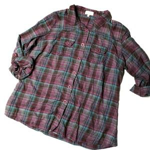 Maurices Size 2 Purple Plaid Long Sleeve Button Up